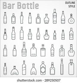 Vector Illustration of Bar Bottle Icon Outline for Design, Website, Background, Banner. Alcohol Element for Barman Infographc. Menu restaurent Element Template. Vodka, Wine, tequila, liqueur, Brandy