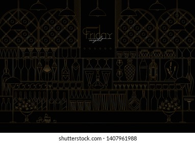 vector illustration with bar, shelves with bottles and glasses, background