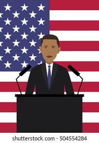 Vector illustration of Barack Obama and American flag