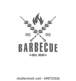 vector illustration barbecue badges, emblem on white background, for advertising and menu design / vector BBQ emblem