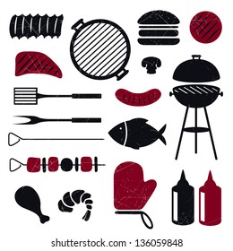 Vector Illustration of Barbecue Grill Icons