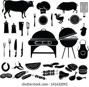vector illustration of  barbecue items