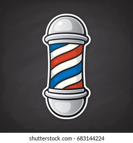 Vector illustration. Barber pole with red and blue spiral. Symbol of retro barbershops. Sticker in cartoon style with contour. Isolated on blackboard