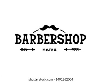 Vector illustration of barbershop lettering for banner, leaflet, poster, clothes, logo, advertisement design. Handwritten text for template, signage, billboard, printing, price list of the barber's
