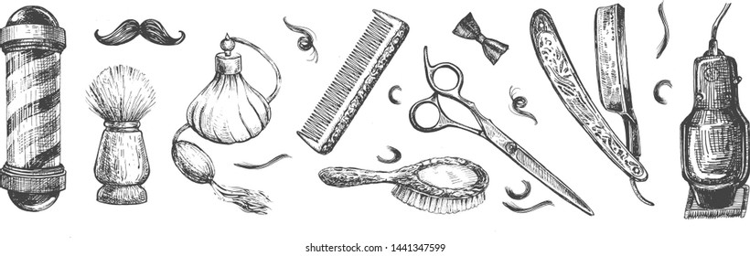Vector illustration of a barbershop tools collection set. Barber shop instruments. Barber pole, scissors, perfume, comb, shaving brush, straight razor, Electric Clipper, hair brush Vintage hand drawn