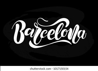 Vector illustration of Barcelona with the inscription for packing product to store , gift ,message. shopping packaging. Inscription , invitation , banner template. Calligraphy background.