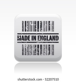 "Vector illustration of barcode icon marked ""Made in England"""