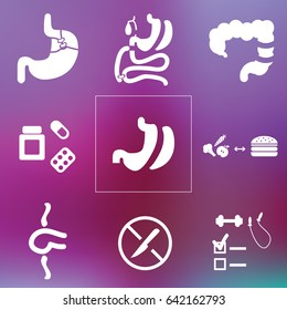 vector illustration for bariatric surgery and medical weight loss icons set