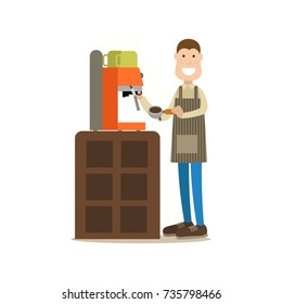 Vector illustration of barista making coffee. Coffee house people flat style design element, icon isolated on white background.