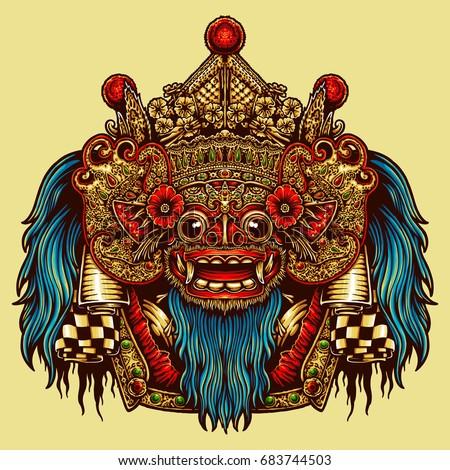 Vector Illustration Barong Bali Mask Stock Vector Royalty Free