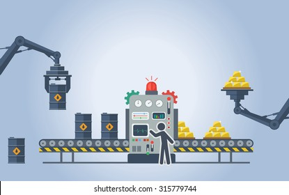 Vector illustration.  Barrels with oil go through the machine that turns them into gold bars.