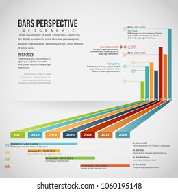 Vector illustration of Bars Perspective Infographic design element.