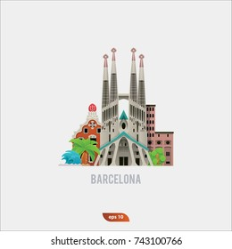 Vector Illustration of Barselona landmarks, flat and modern icon set for travel companies
