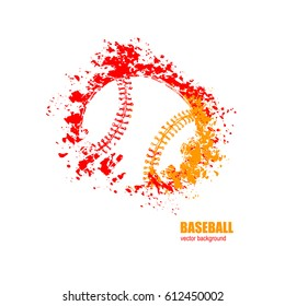 Vector illustration of baseball. Ball, fire on a white background.