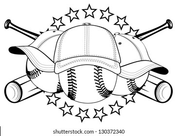 Vector illustration baseball balls in hats and crossed bats and stars