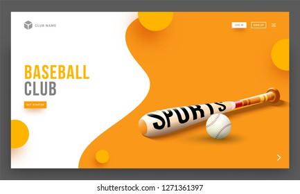 Vector illustration of baseball bat and ball on abstract background, Baseball club landing page design.