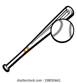 Vector illustration of baseball bat and ball