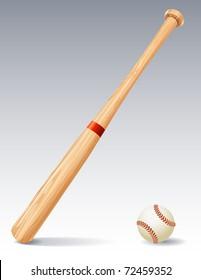 Vector illustration - Baseball bat and ball