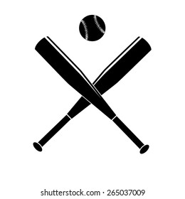 Vector illustration of baseball bats and ball. Black and white simple.