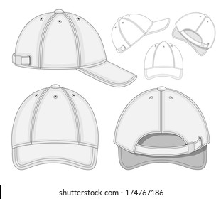 Vector illustration of baseball cap (front, back and side view). No mesh. Color redact easy.