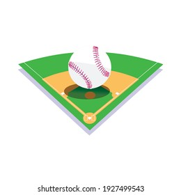 vector illustration of baseball field with bat, ball isolated on a white
