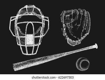 Vector illustration of baseball helm, ball, bat and glove in hand drawn chalk style. Blackboard drawing imitation. Isolated on black.