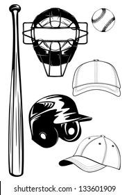 Vector illustration baseball helmet,  bat, cap, ball, mask set