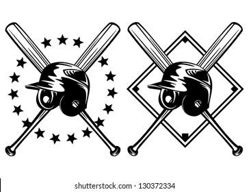 Vector illustration baseball helmet and crossed bats set