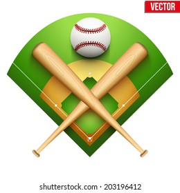 Vector illustration of baseball leather ball and wooden bats on field. Symbol of sports. Isolated on white background.