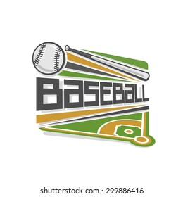 Vector illustration of baseball logo sport, consisting of a grassy baseball field with base, a bat and a shot flying ball on stadium arena
