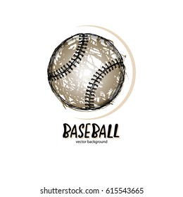 Vector illustration, baseball, logo, symbol. Abstract ball, sketch for design of sports cover, poster, banner. Hand-drawing texture. Grunge.