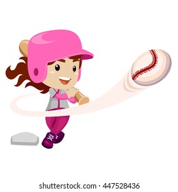 Vector Illustration of Baseball Player hit the Ball