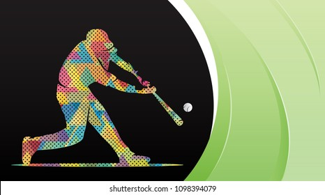 Vector illustration of a baseball player hitting the ball. Abstract background, summer sports, team game