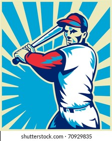 vector illustration of a Baseball player holding bat with sunburst in background set inside circle done in retro woodcut style.