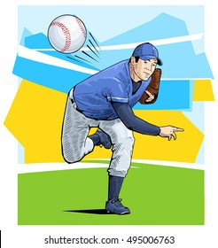 Vector illustration of a baseball player throwing the ball. Beautiful sport themed poster. Pitcher throwing the ball isolated on abstract background. Team game, summer sports.