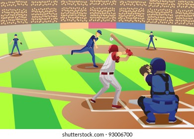 A vector illustration of baseball players playing in a baseball game