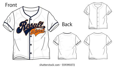 Vector illustration of baseball shirt. Front and back views