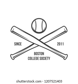 vector illustration of Baseball team, competition logo and insignia, in grunge vintage style. Can be used for t-shirt graphic designs, print stamps, typography emblems, sports logos