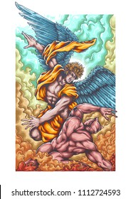 Vector illustration based on bible angel and demon battle heaven and hell or good and evil illustration