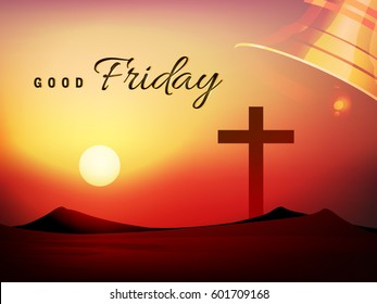 Vector Illustration based on Evening Scene with Religious Symbol Cross and stylish text on shiny background on the occasion of Good Friday.