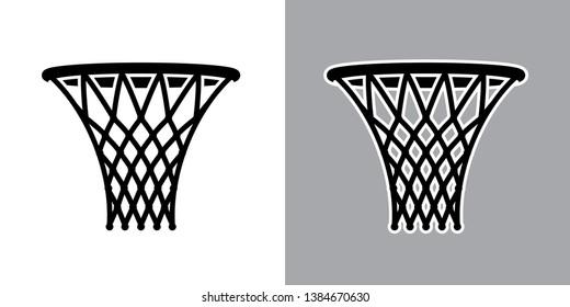 Vector illustration of basket for basketball game on light and dark backgrounds.