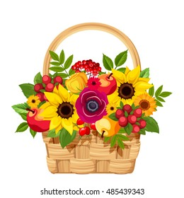 Vector illustration of a basket with colorful autumn flowers, apples and berries isolated on a white background.
