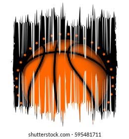 Vector illustration basketball ball on grunge background for t-shirt design