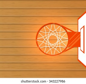 Vector illustration, basketball court and basket, top view