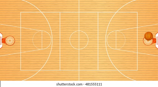 Vector illustration a basketball court, top view, a ball in a basket, tournament area, team sport