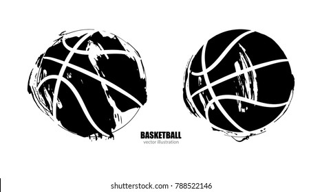 Vector illustration of a basketball, isolated. Set of ripped dirty balls, grunge style, element for sports design poster, banner, print for T-shirts. Manual drawing, brush, ink.