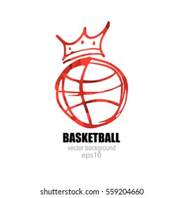 Vector illustration for Basketball. Logo, symbol ball with a crown.