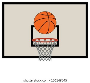 vector illustration of basketball net and backboard set