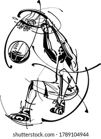 the vector illustration of the basketball player