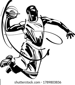 Vector illustration of a basketball player.